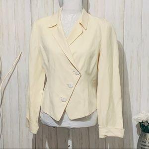 Neiman Marcus Silk & Linen Ivory Blazer Size 10